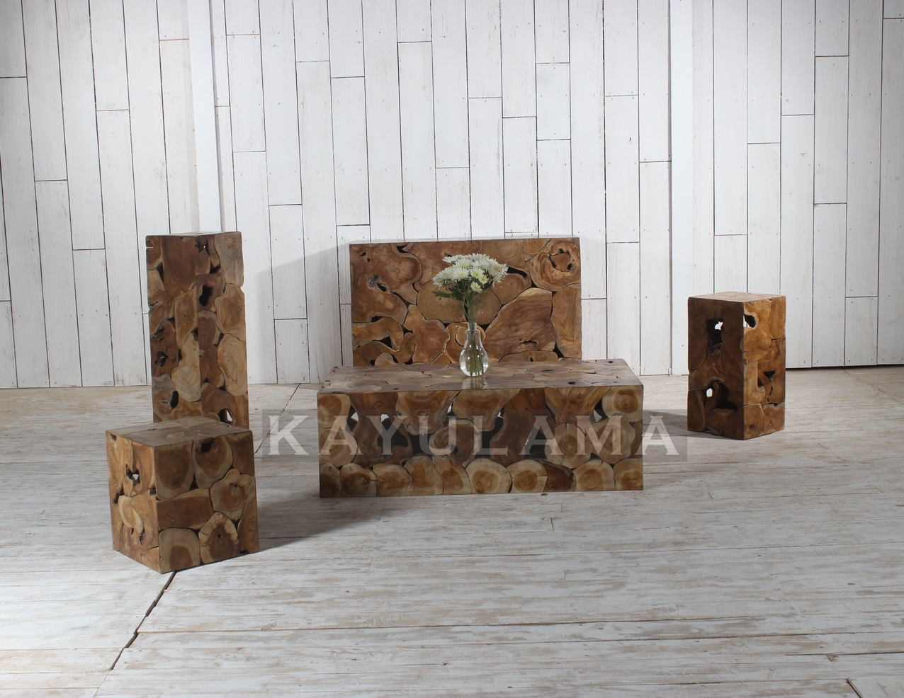 Teak Coffee Table Trunk Set Furniture