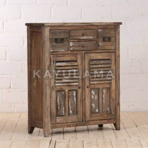 recycled wood pine cabinet